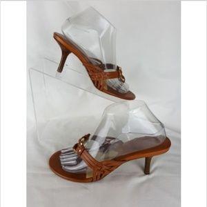 MICHAEL KORS 7.5 Sandals Brown Leather Slide